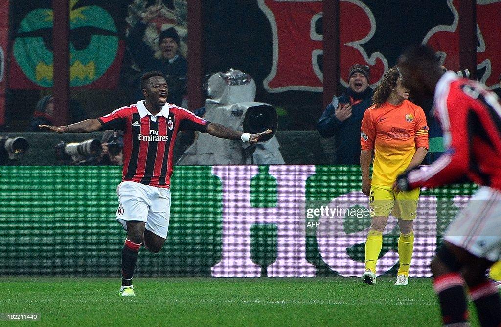AC Milan's midfielder of Ghana Sulley Ali Muntari (L) celebrates scoring during the Champions League football match between AC Milan and FC Barcelona on February 20, 2013 at San Siro Stadium in Milan.