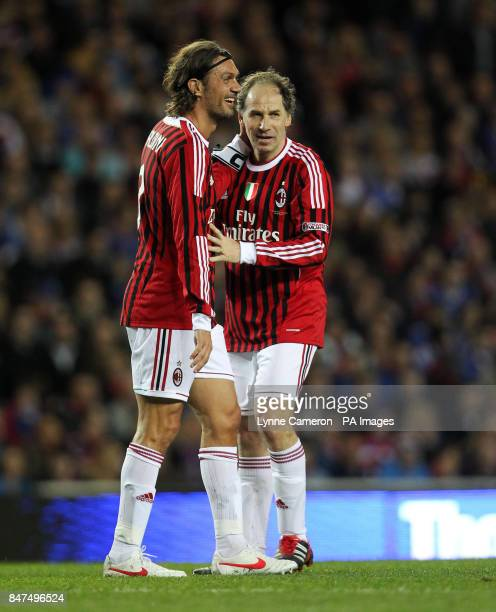 AC Milan's Paolo Maldini and Franco Baresi during the Legends match at Ibrox Stadium Glasgow