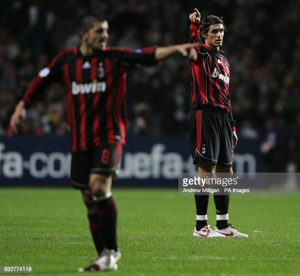 AC Milan's Paolo Maldini and Rino Gattuso during the Champions League first knockout round first leg match against Celtic at Celtic Park Glasgow
