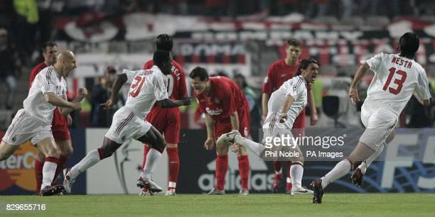 AC Milan's Paolo Maldini celebrates scoring against Liverpool