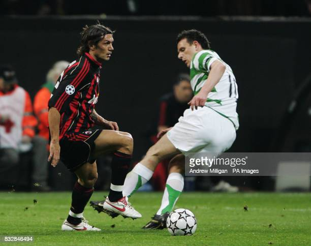 AC Milans Paolo Maldini challenges Celtics Jan Vennegoor of Hesselink during the Champions league match AC Milan vs Celtic at the San Siro Stadium in...