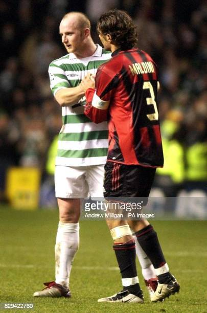 AC Milan's Paolo Maldini consoles Celtic's John Hartson after the UEFA Champions League Group F match at Celtic Park Glasgow THIS PICTURE CAN ONLY BE...