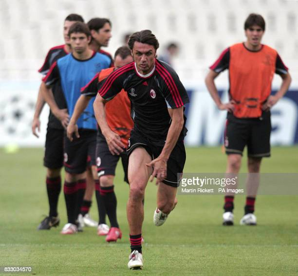 AC Milan's Paolo Maldini during a training session at the Athens Olympic Stadium Athens Greece
