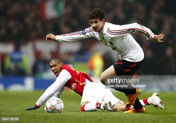 AC Milan's Pato breaks clear from Arsenal's Gael Clichy