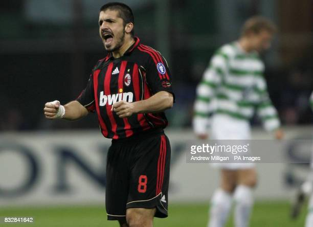 AC Milan's Rino Gattuso encourages his team during the UEFA Champions League First Knockout Round Second Leg match at the San Siro Milan