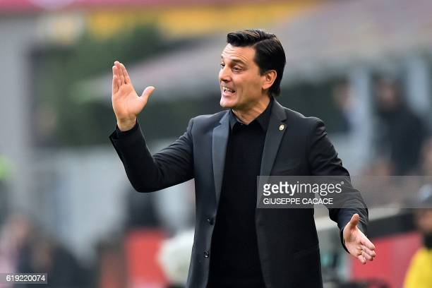 AC Milan's Serbian coach Vincenzo Montella reacts during the Italian Serie A football match between AC Milan and Pescara at the San Siro Stadium in...