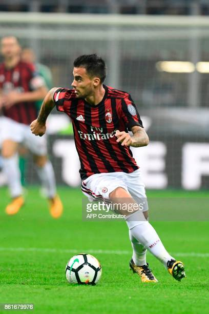 AC Milan's Spanish forward Fernandez Suso controls the ball during the Italian Serie A football match Inter Milan Vs AC Milan on October 15 2017 at...