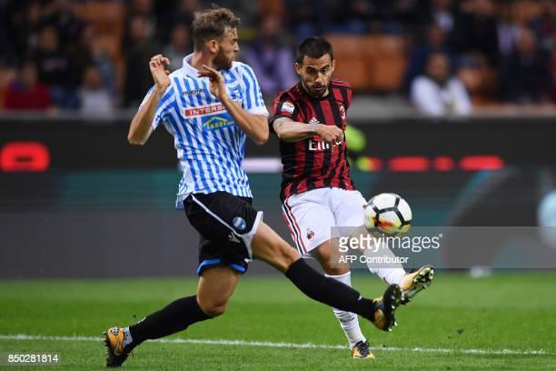 AC Milan's Spanish forward Suso tries to score during the Italian Serie A football match AC Milan vs Spal at San Siro stadium in Milan on September...