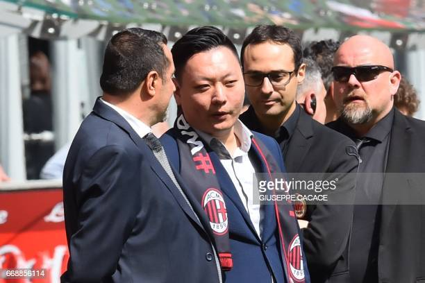 AC Milan's Sport Director Massimo Mirabelli and Rossoneri Sport Investment Lux representative David Han Li attend the Italian Serie A football match...