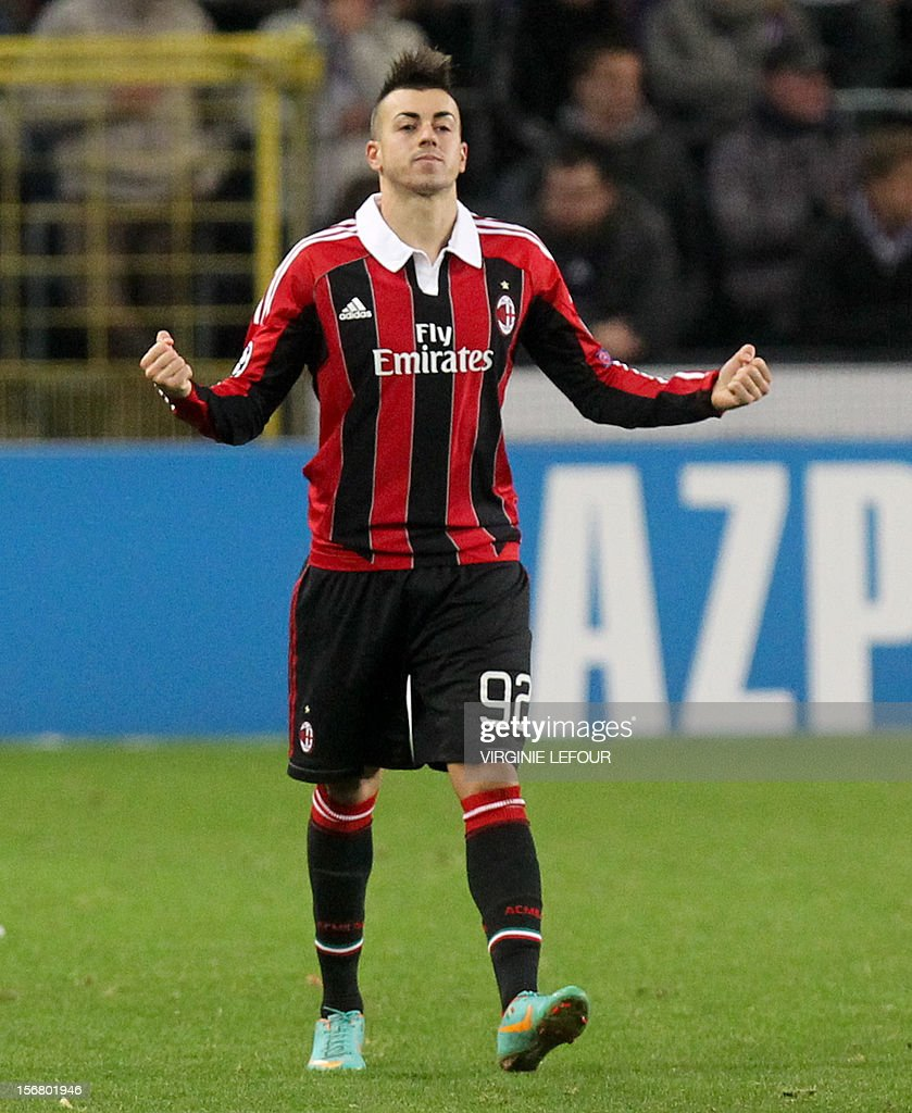 AC Milan s Stephan El Shaarawy celebrates after scoring a goal