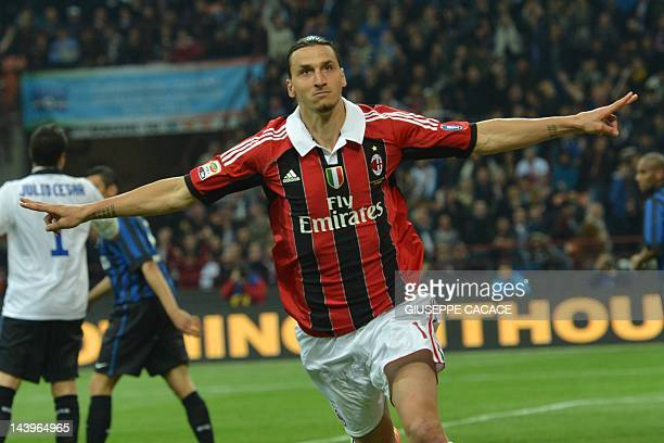 AC Milan's Swedish forward Zlatan Ibrahimovic celebrates after scoring against Inter Milan on May 6 2012 during an Italian Serie A football match at...