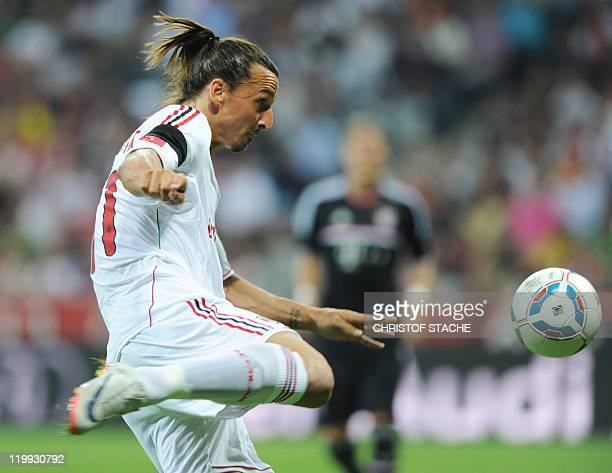AC Milan's Swedish striker Zlatan Ibrahimovic plays the ball during the Audi Cup football match between FC Bayern Munich and AC Milan in Munich...