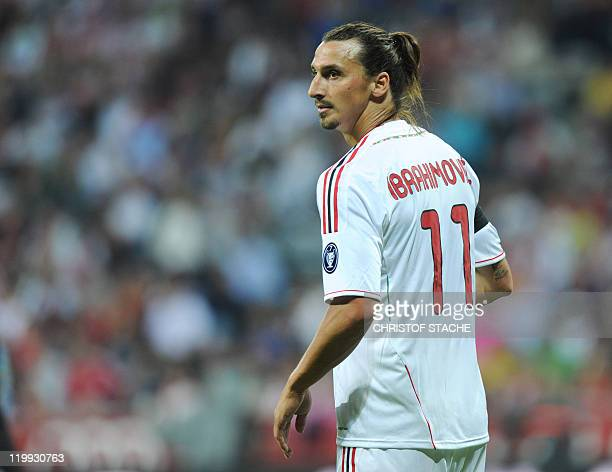 AC Milan's Swedish striker Zlatan Ibrahimovic walks on the field during the Audi Cup football match between FC Bayern Munich and AC Milan in Munich...