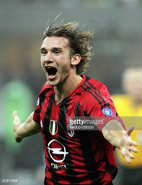 Milan's Ukranian forward Andriy Shevchenko celebrates after scoring against Barcelona during their Champions League group F football match at San...
