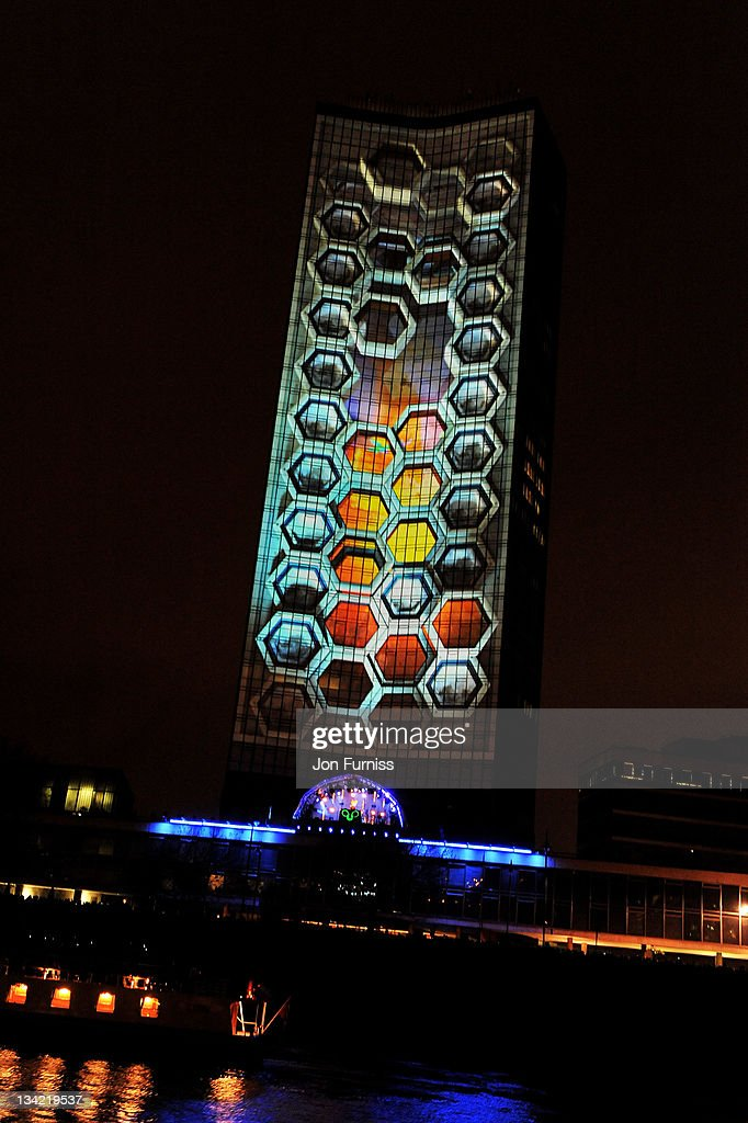 Milbank Tower is illuminated during the Nokia Lumia Live To Launch The Nokia Lumia 800 Smartphone Spectacle event on November 28 2011 in London...