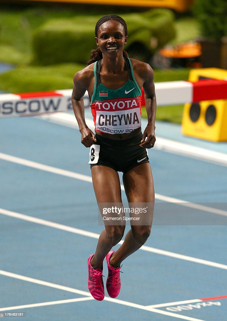 <a gi-track='captionPersonalityLinkClicked' href=/galleries/search?phrase=Milcah+Chemos+Cheywa&family=editorial&specificpeople=6147033 ng-click='$event.stopPropagation()'>Milcah Chemos Cheywa</a> of Kenya celebrates winning gold in the Women's 3000 metres steeplechase final during Day Four of the 14th IAAF World Athletics Championships Moscow 2013 at Luzhniki Stadium on August 13, 2013 in Moscow, Russia.