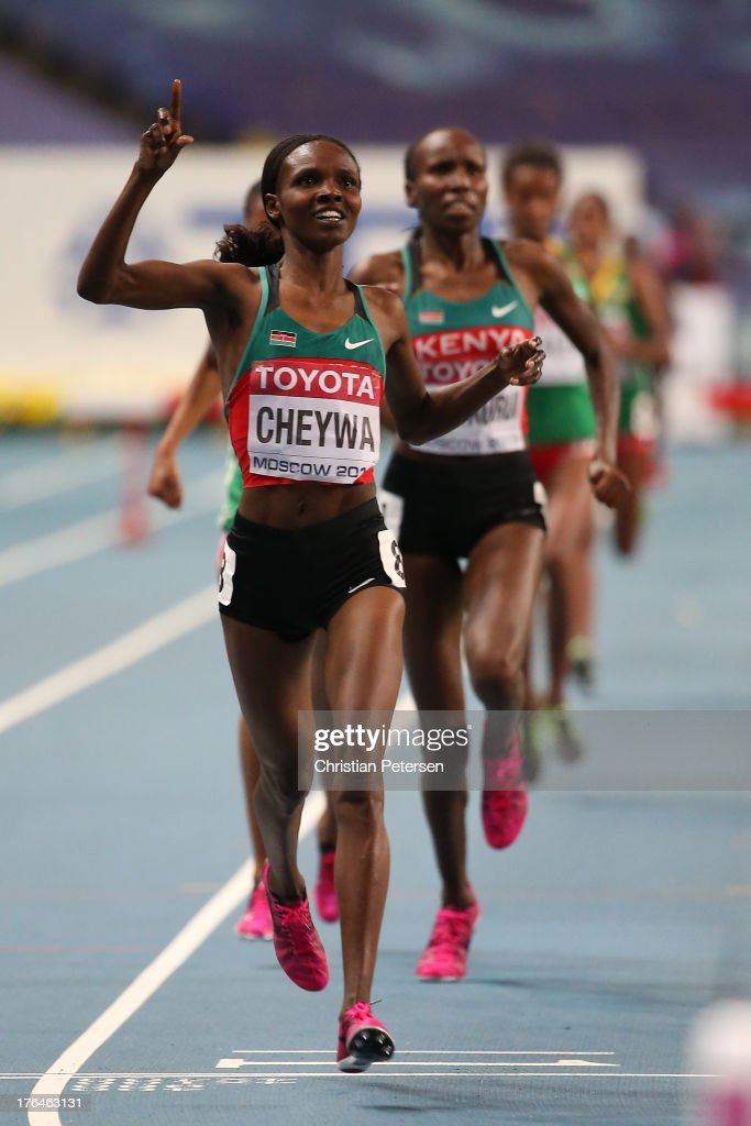 <a gi-track='captionPersonalityLinkClicked' href=/galleries/search?phrase=Milcah+Chemos+Cheywa&family=editorial&specificpeople=6147033 ng-click='$event.stopPropagation()'>Milcah Chemos Cheywa</a> of Kenya crosses the line to win gold in the Women's 3000 metres steeplechase final during Day Four of the 14th IAAF World Athletics Championships Moscow 2013 at Luzhniki Stadium on August 13, 2013 in Moscow, Russia.