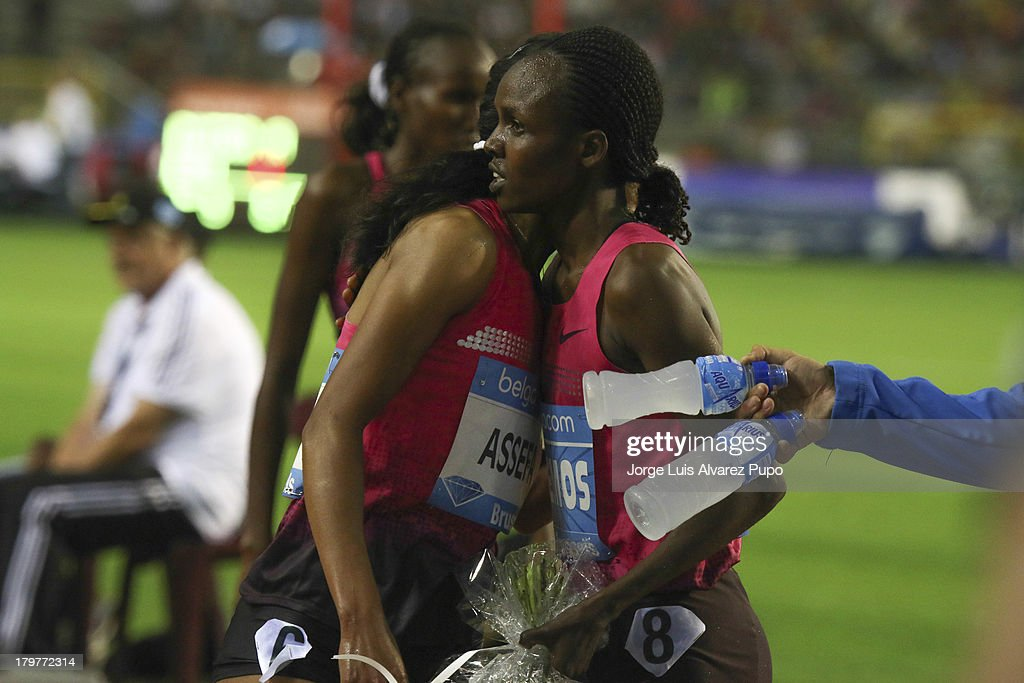 Milcah Chemos from Ethiopia celebrates after the womens's 3000m steeple final during the 2013 Belgacom Memorial Van Damme -IAAF Diamond League on September 6, 2013 in Brussels, Belgium.