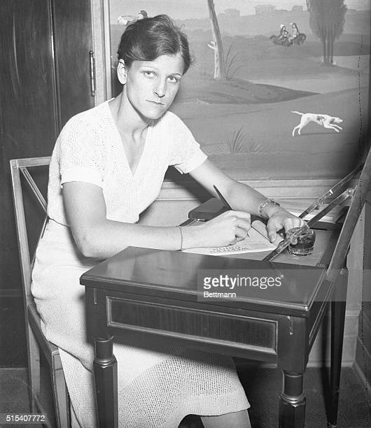 Mildred 'Babe' Didrickson is shown here writing to the folks back home in Dallas Texas to tell them that she arrived safely in Chicago to attend the...