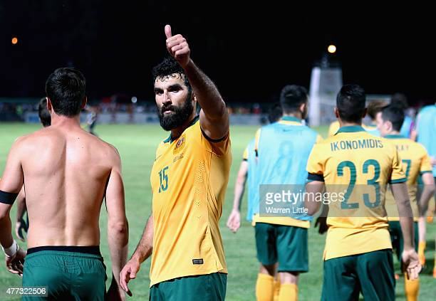 Mile Jedinak Captain of Australia acknowledges the Australian crowd after during the 2018 FIFA World Cup Qualifier match between Kyrgyzstan and the...
