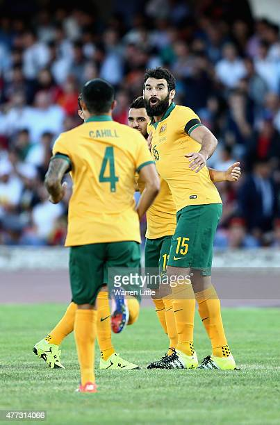 Mile Jedinak Captain of Australia celebrates the opening goal during the 2018 FIFA World Cup Qualifier match between Kyrgyzstan and the Australian...
