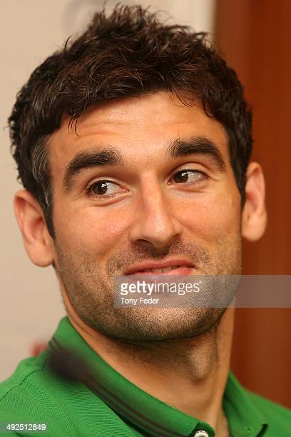 Mile Jedinak is announced as the new Socceros captain during an Australian Socceroos media session at Terrigal Crowne Plaza on May 21 2014 in Gosford...