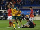 Mile Jedinak of Australia celebrates his goal during the AFC Asian Cup Group C match between the Australian Socceroos and Korea Republic at AlGharafa...