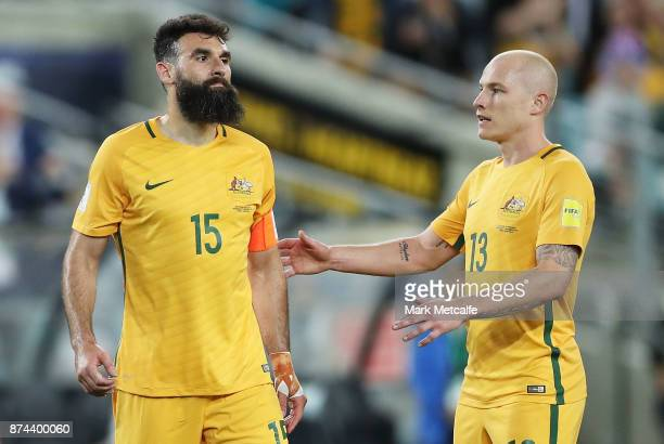 Mile Jedinak of Australia celebrates scoring a goal with Aaron Mooy of Australia during the 2018 FIFA World Cup Qualifiers Leg 2 match between the...