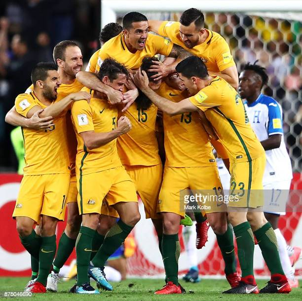 Mile Jedinak of Australia celebrates with his team mates after scoring a goal during the 2018 FIFA World Cup Qualifiers Leg 2 match between the...