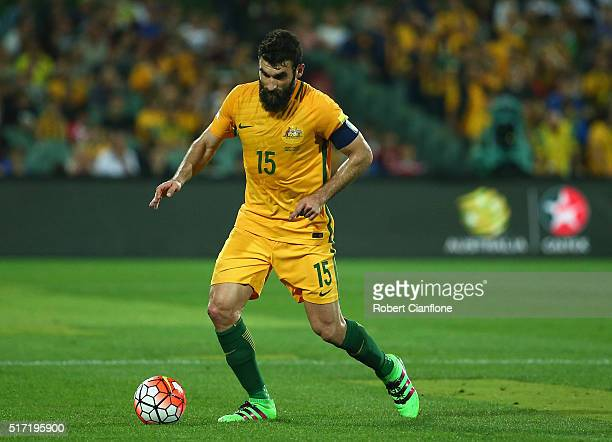 Mile Jedinak of Australia controls the ball during the 2018 FIFA World Cup Qualification match between the Australia Socceroos and Tajikistan at the...