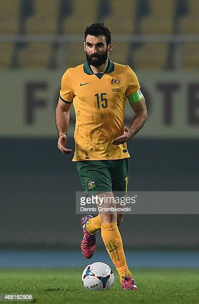 Mile Jedinak of Australia controls the ball during the International Friendly match between Macedonia and Australia on March 30 2015 in Skopje...