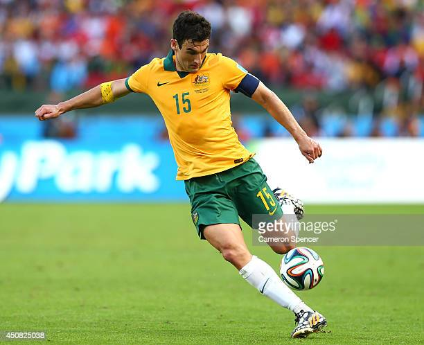 Mile Jedinak of Australia in action during the 2014 FIFA World Cup Brazil Group B match between Australia and Netherlands at Estadio BeiraRio on June...