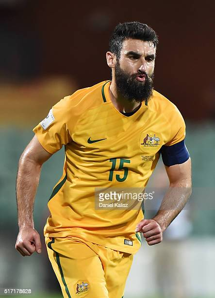 Mile Jedinak of Australia reacts after scoring a goal during the 2018 FIFA World Cup Qualification match between the Australia Socceroos and...