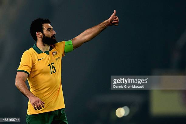 Mile Jedinak of Australia reacts during the International Friendly match between Macedonia and Australia on March 30 2015 in Skopje Macedonia