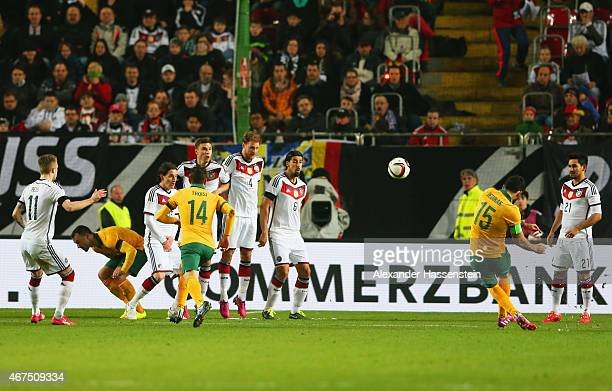 Mile Jedinak of Australia scores their second goal from a free kick during the international friendly match between Germany and Australia at...