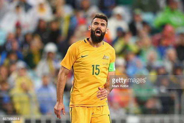 Mile Jedinak of Australia shows his frustration during the international friendly match between the Australian Socceroos and Greece at ANZ Stadium on...