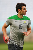 Mile Jedinak of Australia warms up during an Australian Socceroos training session at ANZ Stadium on May 25 2014 in Sydney Australia