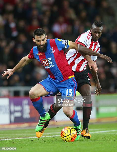 Mile Jedinak of Crystal Palace and Dame N'Doye of Sunderland compete for the ball during the Barclays Premier League match between Sunderland and...