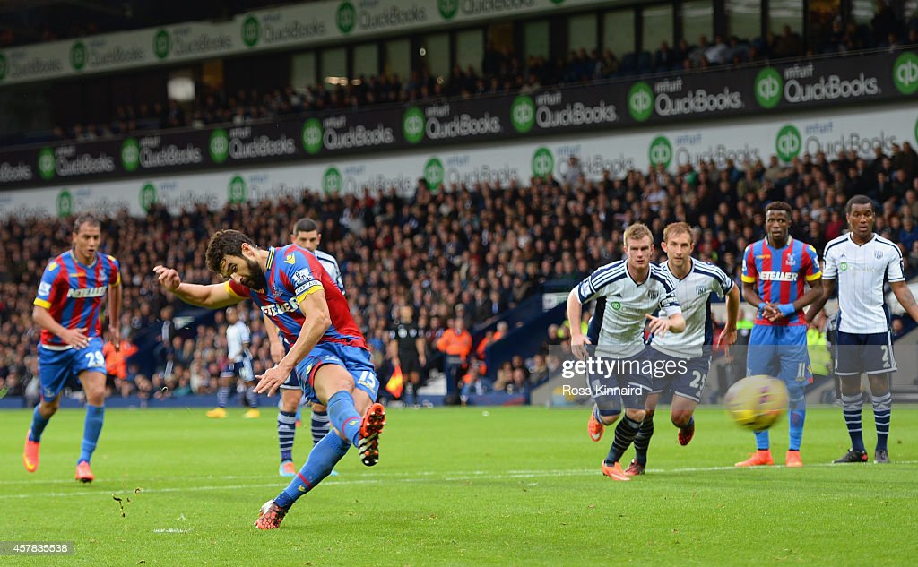 Mile Jedinak of Crystal Palace scores their second goal from the penalty spot during the Barclays Premier League match between West Bromwich Albion...