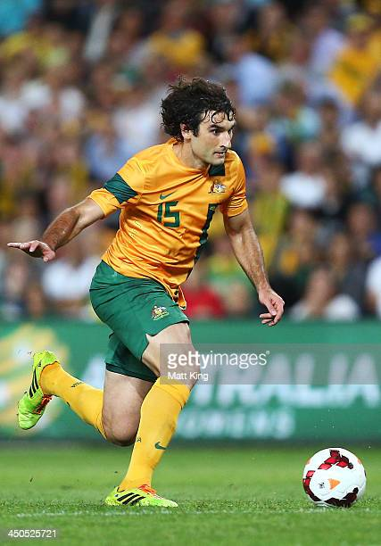 Mile Jedinak of the Socceroos controls the ball during the international friendly match between the Australian Socceroos and Costa Rica at Allianz...