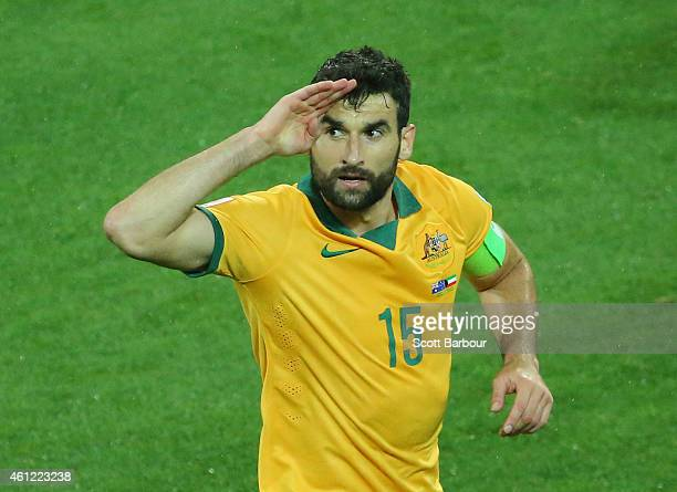 Mile Jedinak of the Socceroos gestures after scoring a goal during the 2015 Asian Cup match between the Australian Socceroos and Kuwait at AAMI Park...