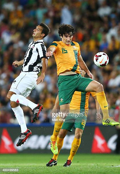 Mile Jedinak of the Socceroos heads the ball during the international friendly match between the Australian Socceroos and Costa Rica at Allianz...