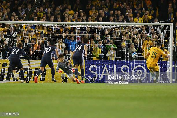 Mile Jedinak of the Socceroos kicks the ball for a penalty goal during the 2018 FIFA World Cup Qualifier match between the Australian Socceroos and...