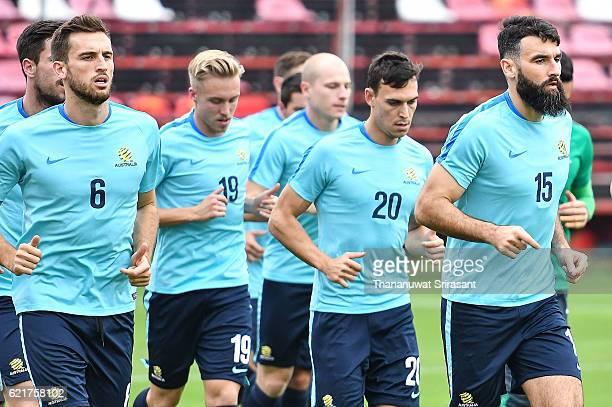 Mile Jedinak runs during an Australia Socceroos training session at SCG Stadium on November 8 2016 in Bangkok Thailand