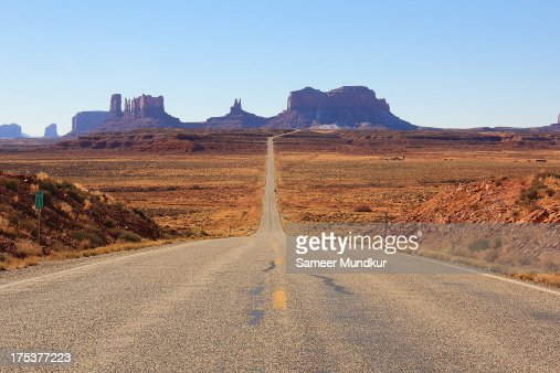 Mile Marker 13 US 163 Road to Monument Valley : Stock Photo