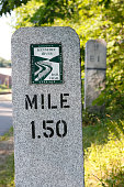 A mile marker is seen on the Kennebec River Rail Trail Wednesday July 13 2016 in Hallowell Maine