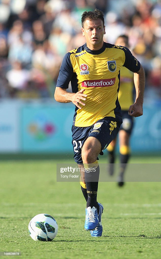 Mile Sterjovski of the Mariners controls the ball during the round 14 A-League match between the Central Coast Mariners and the Perth Glory at Bluetongue Stadium on December 31, 2012 in Gosford, Australia.