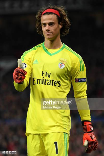 Mile Svilar of Benfica celebrates after saving a penalty shot during the UEFA Champions League group A match between Manchester United and SL Benfica...