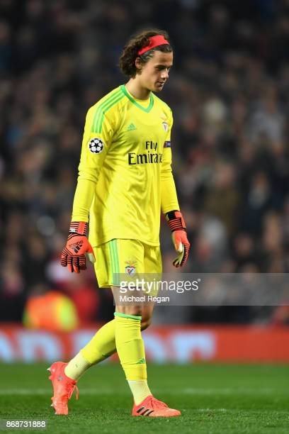 Mile Svilar of Benfica looks dejected following his own goal during the UEFA Champions League group A match between Manchester United and SL Benfica...