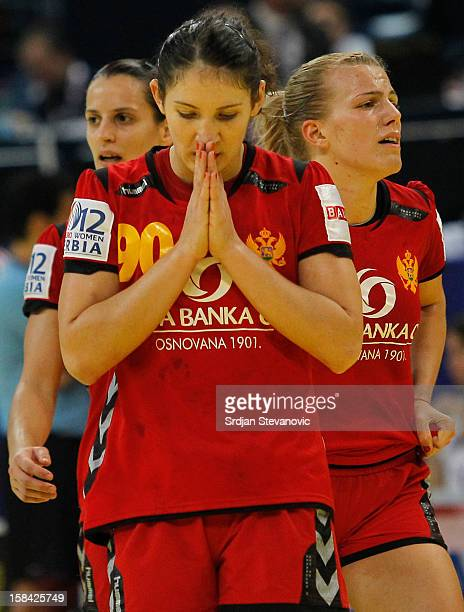 Milena Knezevic of Montenegro reacts during the Women's European Handball Championship 2012 gold medal match between Norway and Montenegro at Arena...